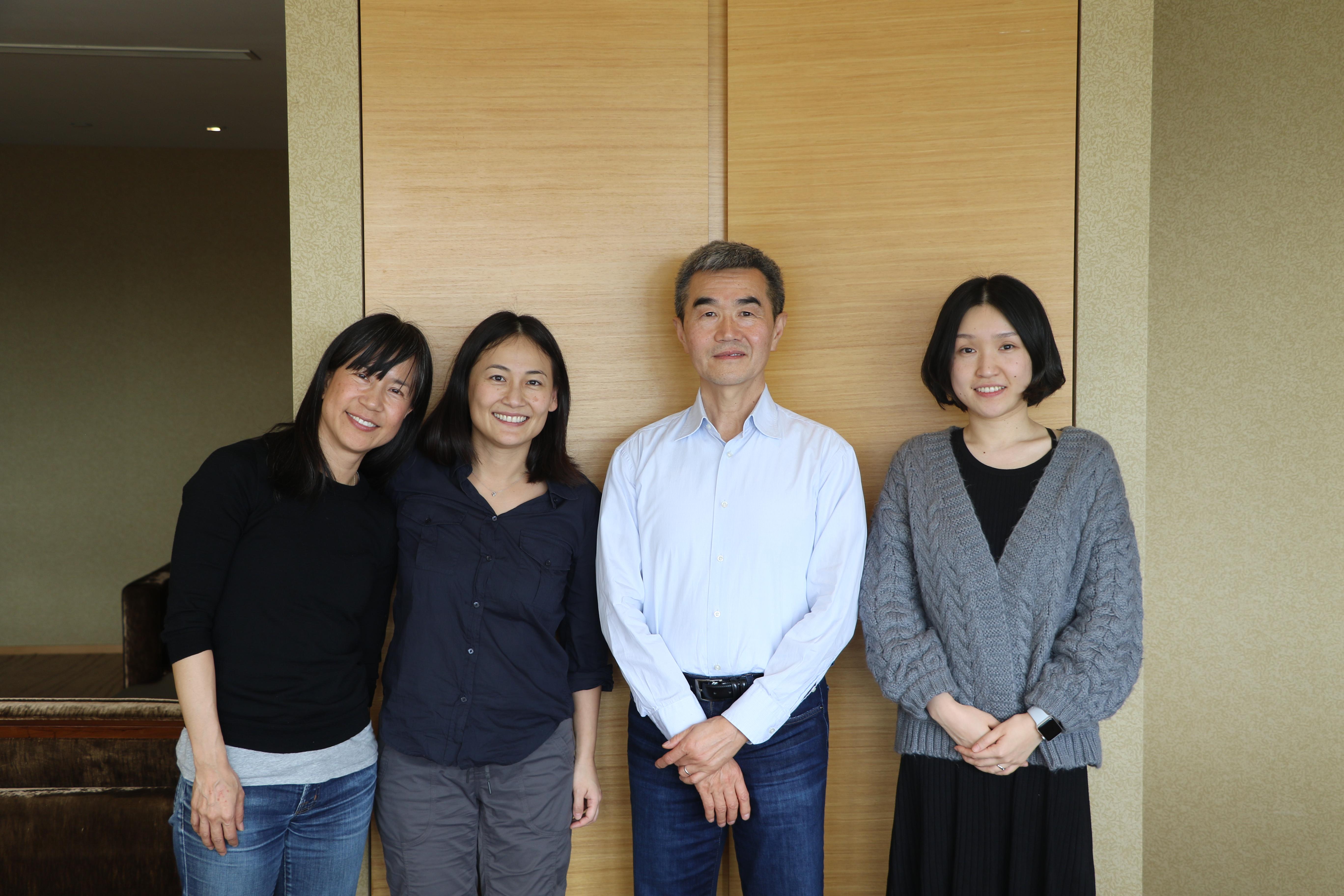 Co-conveners Teresa Kuan and Becky Hsu with research group member Yunxiang Yan and post-doctoral student Lynn Sun.