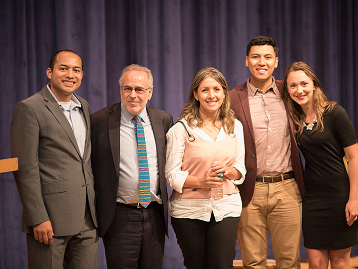 Marc Chernick with student organizers of 4th Annual Georgetown Latin American Film Festuval (GLAFF) 2017 and Natalia Orozco