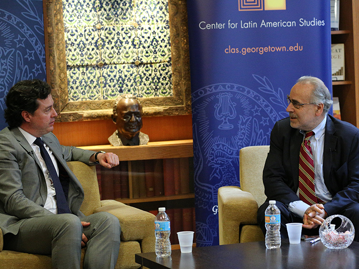 Marc Chernick and Senator Juan Manuel Galan at Georgetown University September 2017