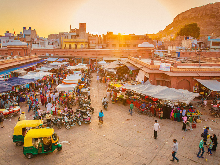 Outdoor market at sunset in the Old City of Jodhpur, India