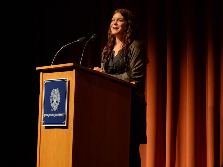 Mary Kathryn Nagle (C'05) Speaks at Podium