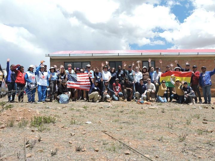Global Builders volunteers and American embassy staff gather for a Volunteer Day in Bolivia