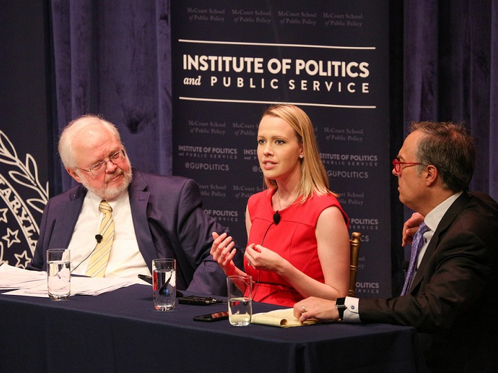 Emily Ekins speaking during the panel discussion on the role of religion in the Republican Party