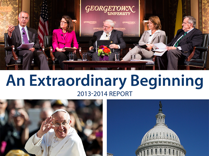 Cover of the annual report: images of a Dialogue, Pope Francis, and the capitol dome.