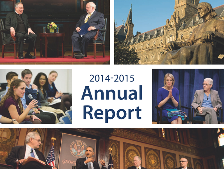 Image of Annual Report Cover including various pictures from the Initiative's Public Dialogues.