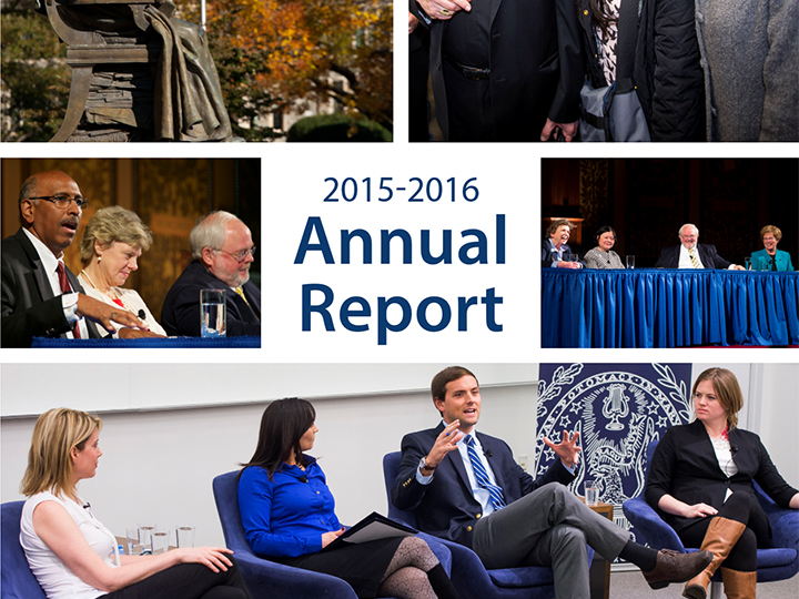 Annual Report Cover with images of various Initiative Public Dialogues
