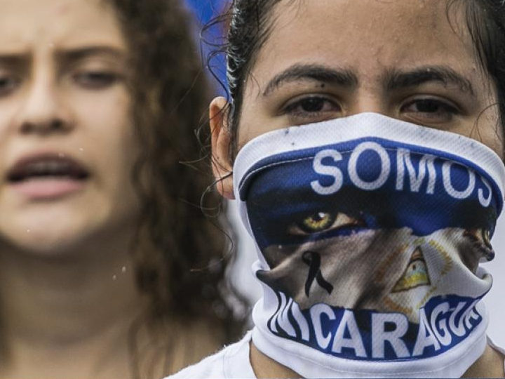 Nicaraguans protesting