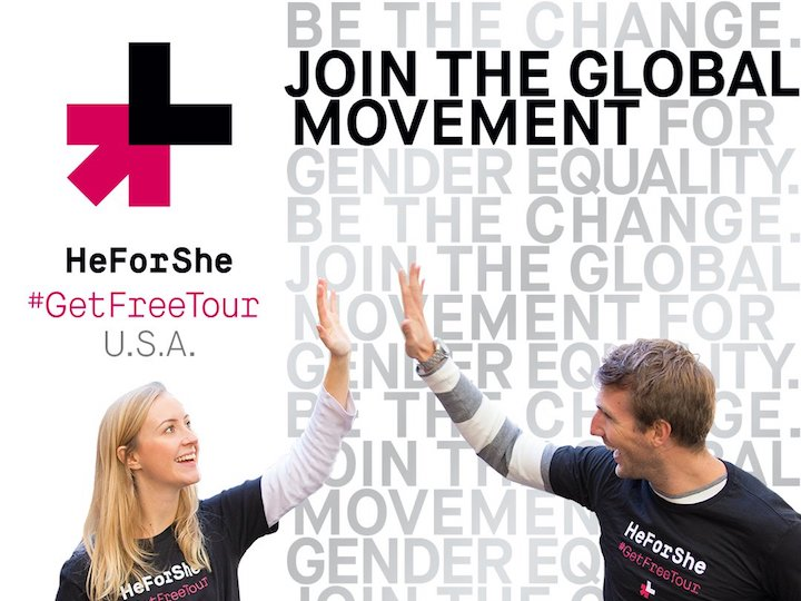 """Man and woman high five. Text encourages the reader to """"join the global movement"""""""