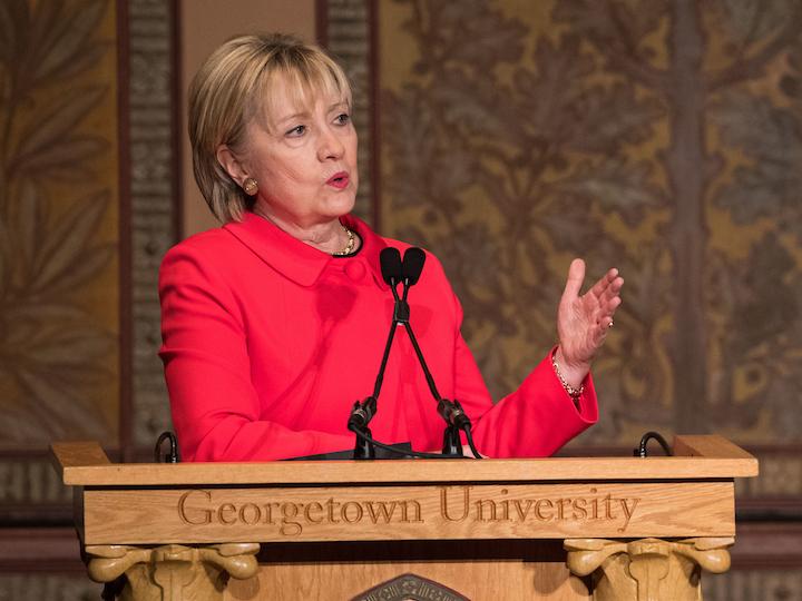 Hillary Clinton speaks in Gaston Hall