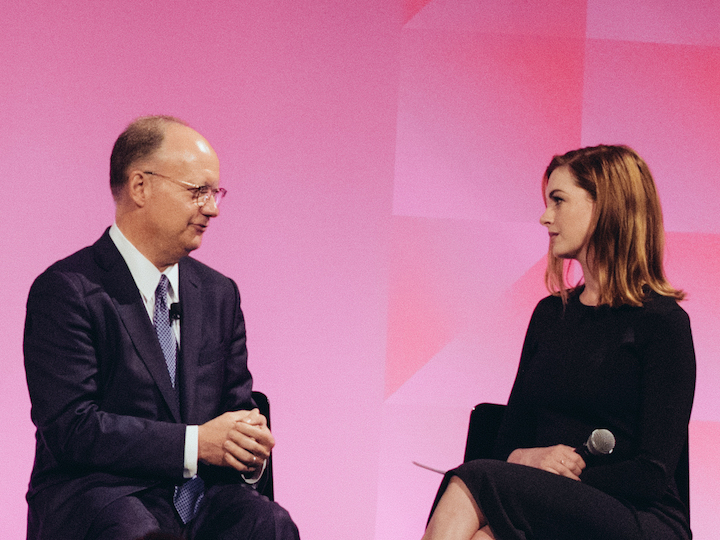 President DeGioia and actress and U.N. Goodwill Ambassador Anne Hathaway during a HeForShe panel
