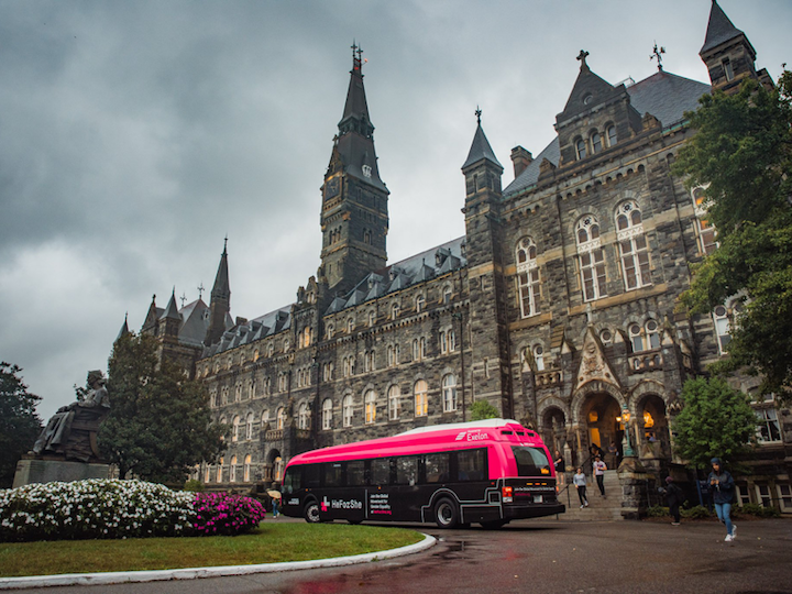 HeForShe #GetFreeTour bus in front of Healy Hall