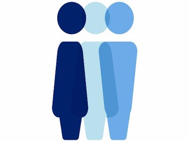 Gender Justice Initiative Logo of three blue figures
