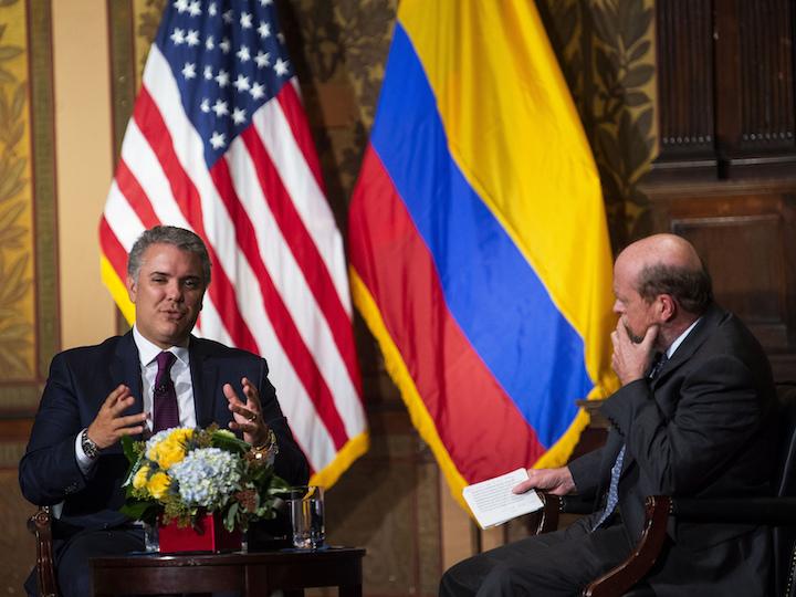 President Duque in conversation with Dean William M. Treanor in Gaston Hall