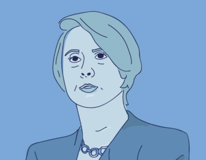 Cartoon of Ambassador Barbara Bodine.
