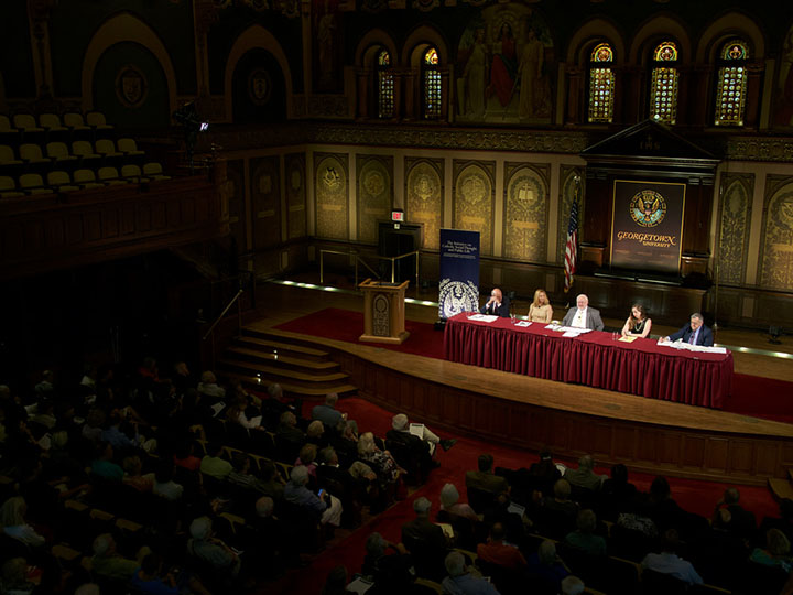 View of Faith and the Faithful dialogue in Gaston Hall at Georgetown University