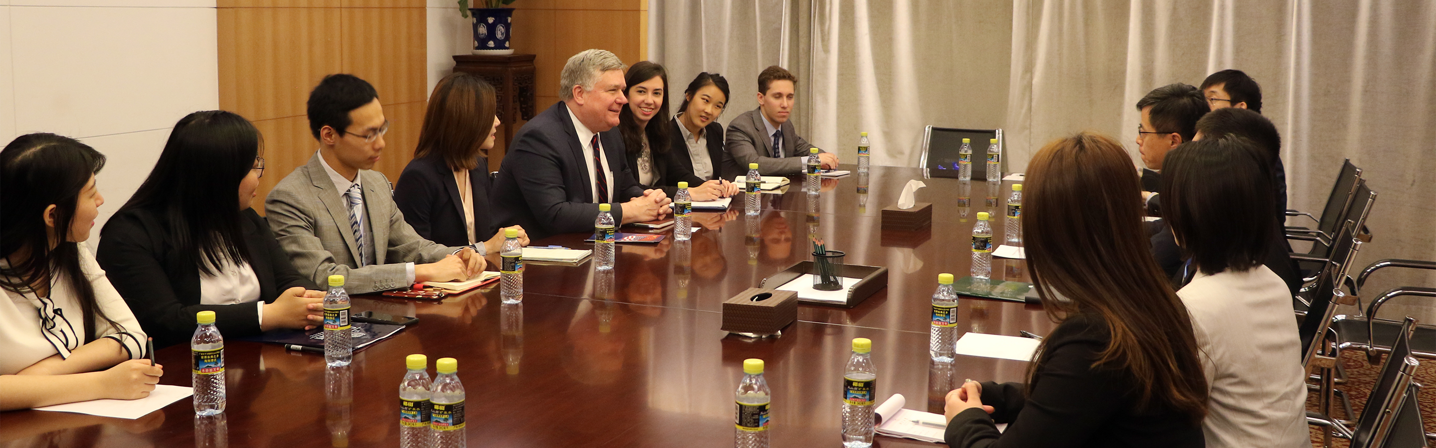 Students having a meeting at the Chinese Foreign Ministry
