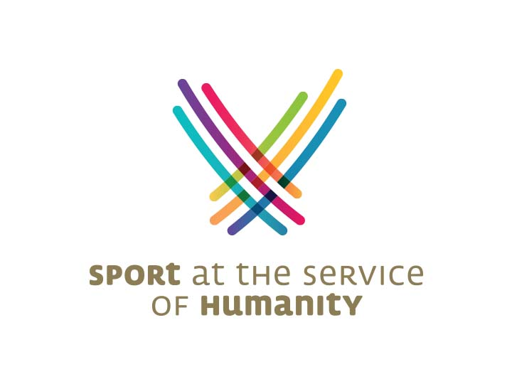 "Sport at the Service of Humanity logo consisting of intersecting multicolored lines in a ""V"" shape"