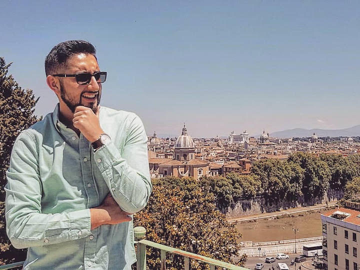 Martin Moreno poses for a photo overlooking Rome