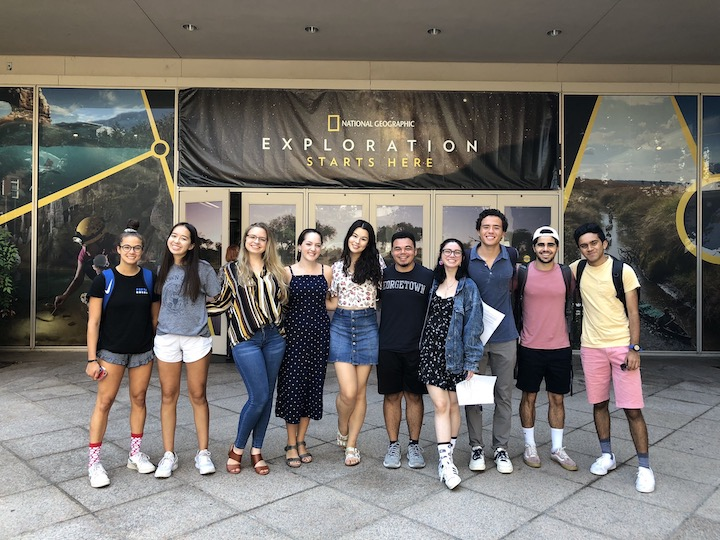 Students in Professor Fieseler's class standing in front of entrance to the National Geographic Society.
