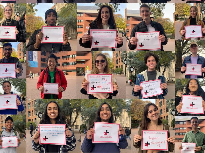 Students taking the #HoyasForShe pledge