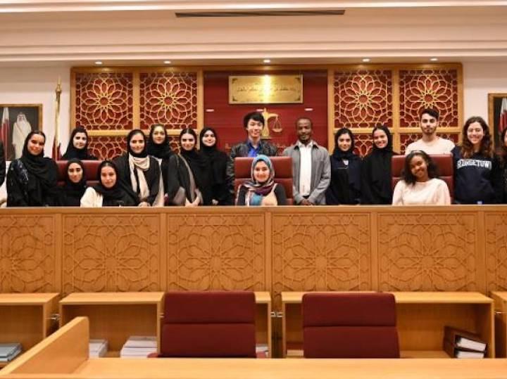 Georgetown University Qatar students at the Qatar International Court