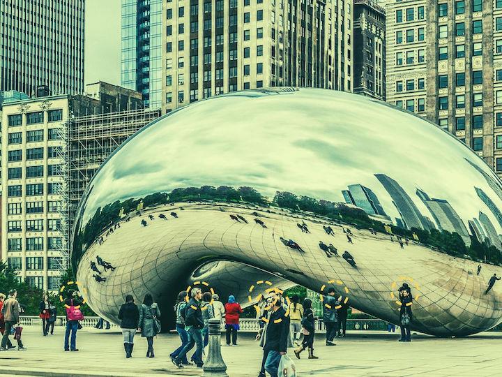 Cloud Gate sculpture in Chicago, Illinois