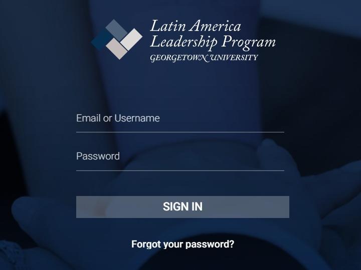 snapshot of log in window of LALP alumni platform