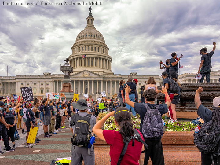 Black Lives Matter protesters in front of the United States Capitol Building