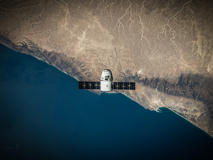 Satellite passed over boundary between land and water