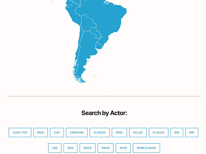 "Map of South America with ""Search by Actor"" buttons"