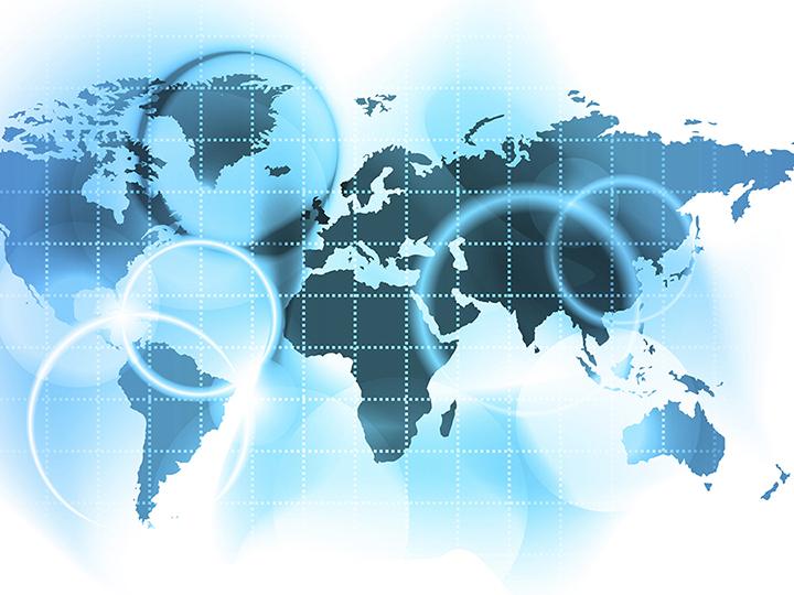 Blue stylized world map