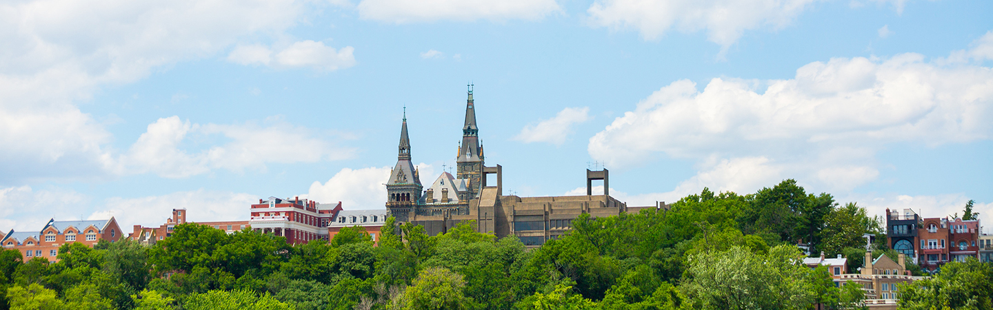 Skyline of Georgetown University campus as seen from the Key Bridge