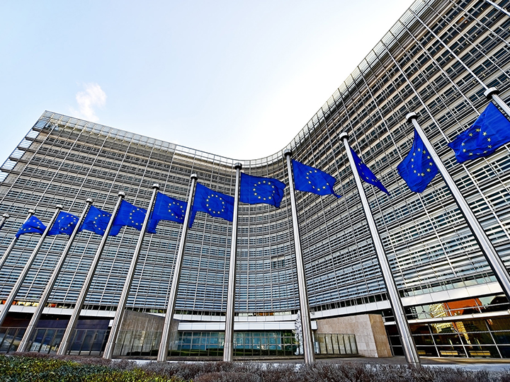 European Union headquarters with flags
