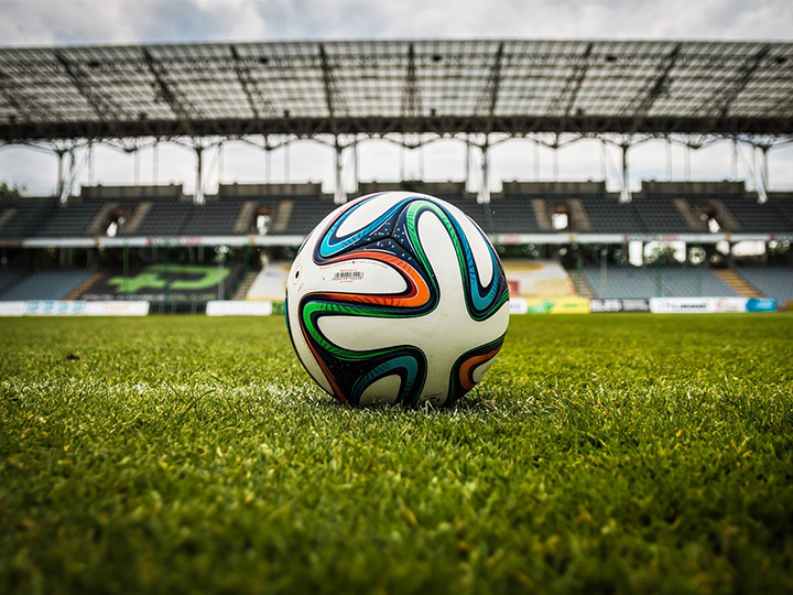 Soccer ball on the field of a stadium