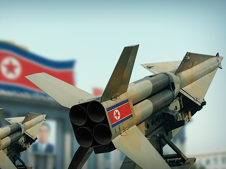 Missiles with North Korea flag