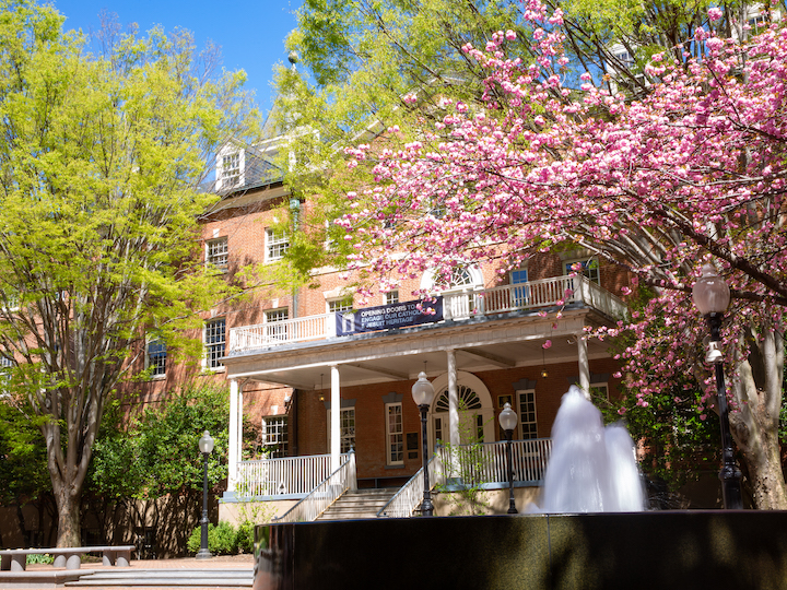 The Old North Building surrounded by flowering springtime trees