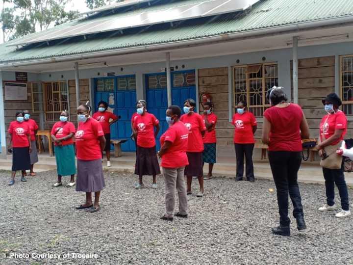 Community health volunteers in Kenya wearing masks courtesy of Trocaire