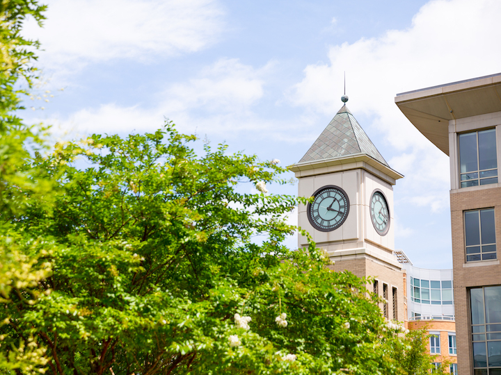 Exterior of Clock Tower on Georgetown Law Center Campus