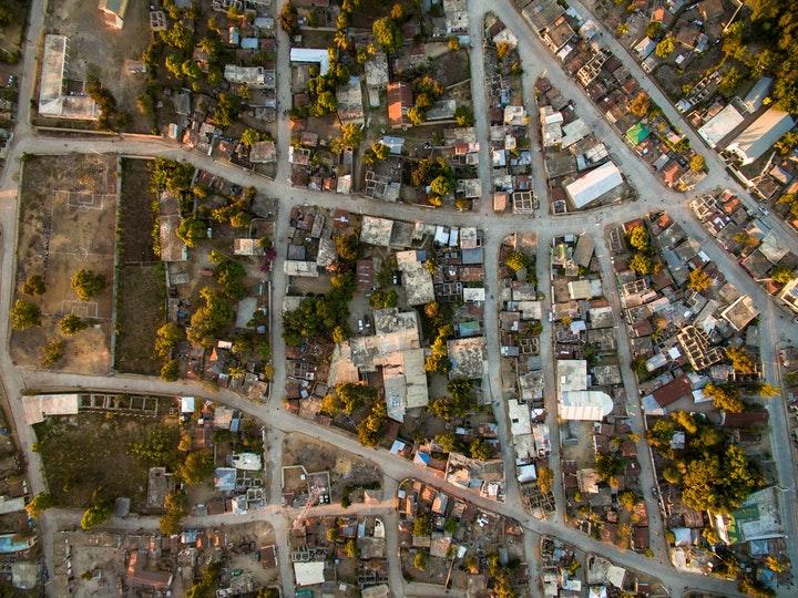 Aerial view of buildings in Haiti