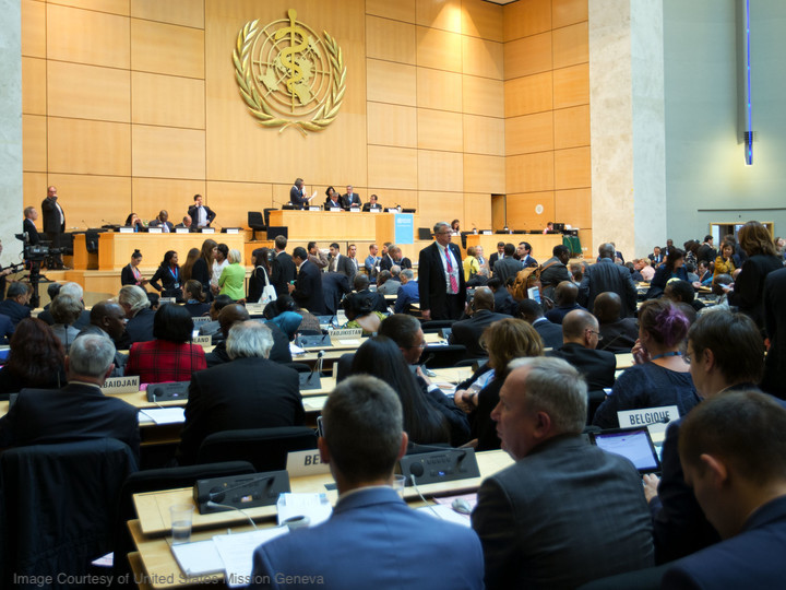 U.S. representatives sit among delegates to the 69th World Health Assembly