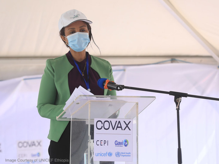 A speaker at the launch of the COVAX program in Addis Ababa, Ethopia