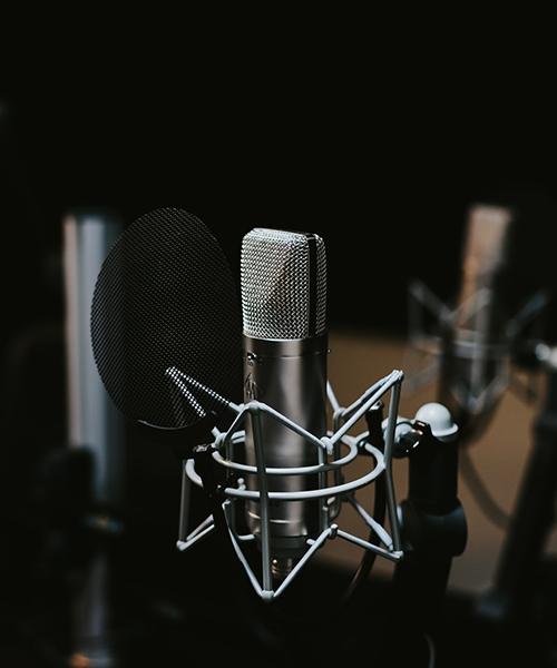 Silver Podcast Microphone in Studio