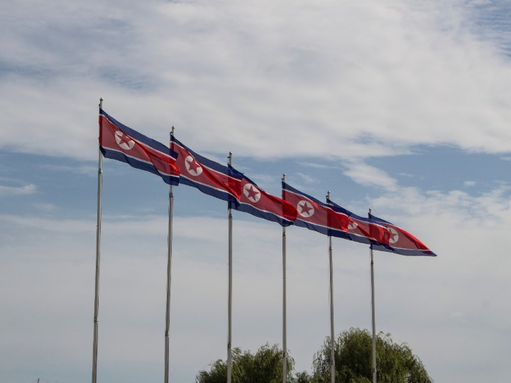 A row of North Korean flags on flagpoles against the backdrop of a cloudy sky