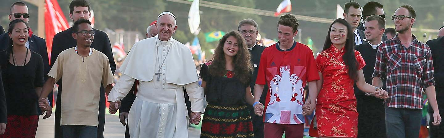 Pope Francis walks with young people in Poland for World Youth Day on 2016