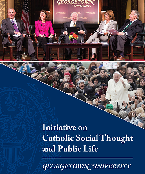 """Front page of brochure with words """"Initiative on Catholic Social Thought and Public Life"""""""