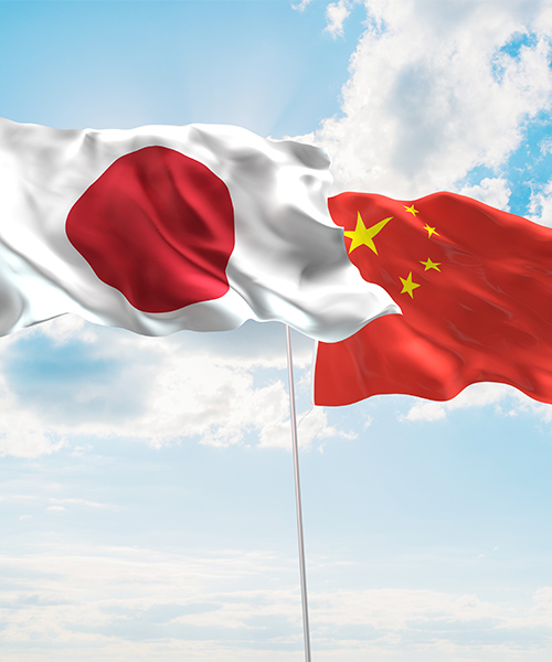 Japan and China flags