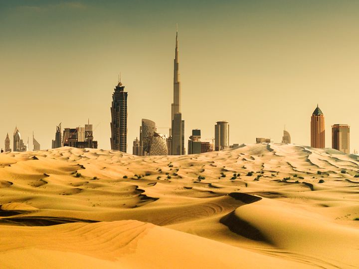 Desert in front of Dubai, Qatar skyline