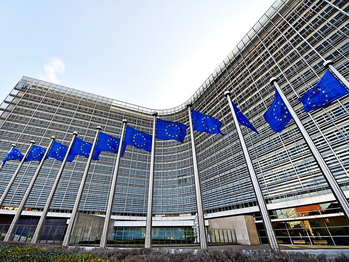 European Commission Building with EU flags