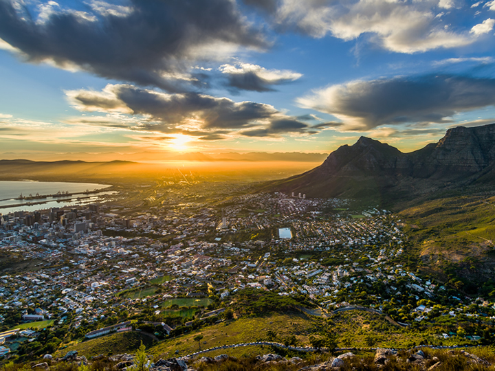 Sunset over Table Mountain in Cape Town, South Africa