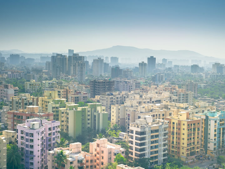 Mumbai, India Skyline with Colorful Buildings